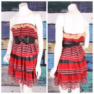 NEW She's Cool Striped Chiffon Tiered Belted Dress